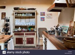Rustic Country Kitchens Farmhouse Style Dresser In Rustic Country Kitchen With Decorative