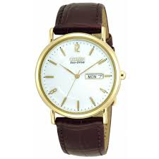 gents gold tone eco drive watch leather strap bm8242 08a