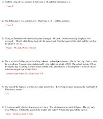 systems of linear equations word problems worksheet doc tessshlo