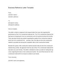 Letter Of Recommendation For A Business Template 45 Awesome Business Reference Letters Template Archive