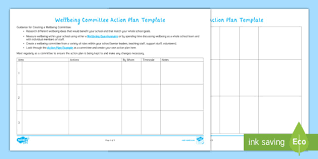 Action Plan Template Wellbeing Committee Action Plan Template Form