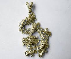 superb large solid 14k gold chinese dragon pendant vs1 quality diamonds 0 73ctw