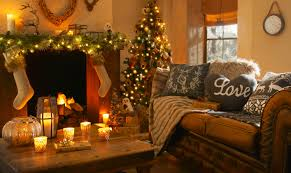 Beauteous Christmas Tree Lights With Comfy Fabric Sofas Also Garlands Decor  Added Candles In Fireplace As Well As Wooden Table Decors In Christmas  Living ...