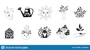Silhouette Art Designs Logo Templates In Line Art And Silhouette Design With Nature