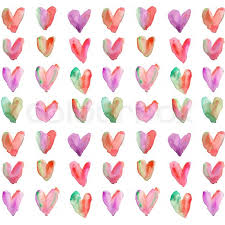 Purple And Red Watercolor Hearts Stock Photo Colourbox