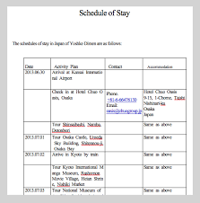 Travel Schedule Sample Schedule Of Stay Japan Visa Japan Japan Japan Travel Travel