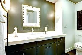 Dark bathroom vanity Marble Dark Bathroom Vanity Bathroom In White And Olive Tones View Of Dark Wooden Vanity Cabinet With Mirror Bathroom Dark Vanity Light Tile Caduceusfarmcom Dark Bathroom Vanity Bathroom In White And Olive Tones View Of Dark