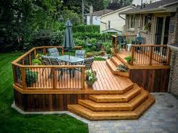 backyard raised patio ideas. Raised Patio Decking Ideas Timber Backyard Deck And Wood Railings With