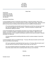 Cover Letter For Job That Is Not Adver Ideal How To Write A Letter