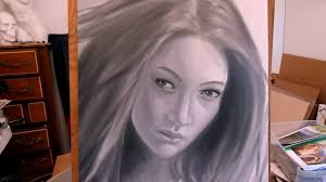 black and white portrait in oil paint