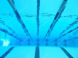 pool lanes seen from underwater stock photo