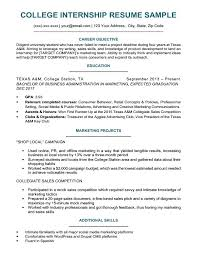 College Student Resume For Internship College Student Resume For