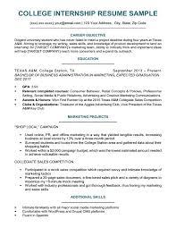 College Student Resume For Internship College Student Resume