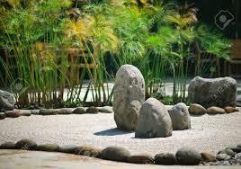 Japanese Rock Garden A Peaceful Zen Rock Garden With Papyrus Plant Stock Photo Picture