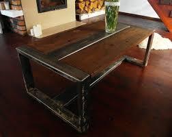 industrial wood furniture. handmade reclaimed wood u0026 steel coffee table vintage rustic industrial furniture p