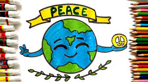 How To Draw Peace Day Poster Cute Earth Drawing