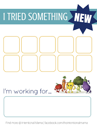 Try New Food Chart A Chart To Encourage Your Picky Eaters To Try New Foods