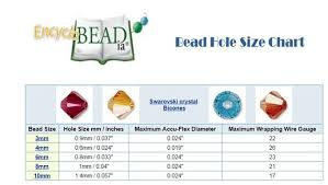 Bicone Bead Size Chart Bead Hole Size Chart Chart Includes Hole Sizes For A Range