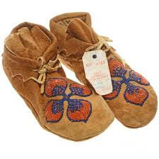 details about plains indian 9 fl beaded brain tanned leather moccasins vintage 1930s 40s