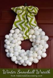 Decorated Styrofoam Balls Snowball winter wreath made with Styrofoam balls and Epsom salt 98