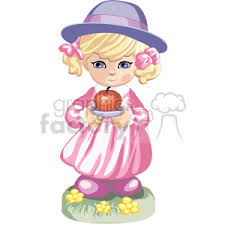 purple apple clipart. a little girl in pink dress and purple hat holding an apple clipart
