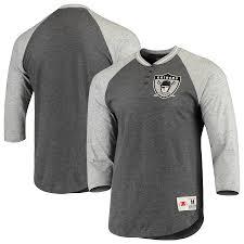Ness Raglan Raiders Charcoal Mitchell Henley heathered amp; Oakland 4-sleeve 3 T-shirt Gray Men's