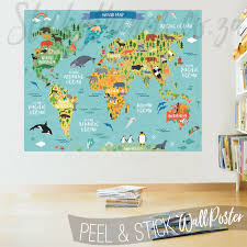 playroom with the childrens world map decal poster