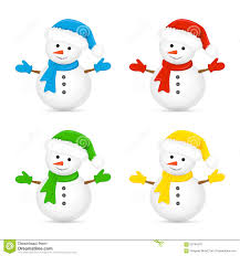 Snowmen In Colorful Hats And Scarves Stock Vector