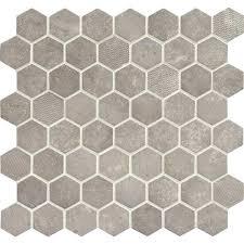 daltile hexagon tile white vintage hex glass mosaic artifact