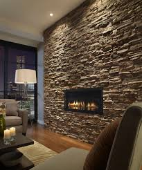 Stone Fireplace Wall Rustic With Modern