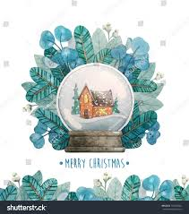 Snow Globe Design Watercolor Christmas Illustration Snow Globe Design Stock