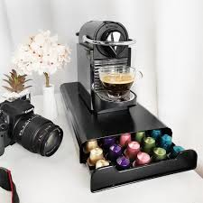 In addition, for a fixed number of holes, you may specify the width of the coffee pod insert, and request that it be held in place in the custom size drawer with a fixed divider. Coffee Pod Holder Storage Drawer Compatible With Nespresso Coffee Capsules Kitchen Organizer Black Holds 50 Capsules