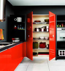 home kitchen furniture. Kitchen With Black Walls And Red Furniture Home
