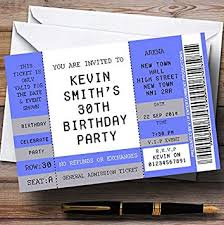 Party Ticket Invitations Adorable Amazon Blue Vip Spoof Concert Ticket Stub Theme Personalized