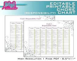 Printable Family Chore Chart Template Free Family Chore Charts Printable Editable Chart Responsibility