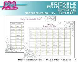 Free Family Chore Charts Printable Editable Chart Responsibility