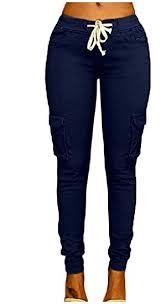 Dressu Womens Strappy Big Pockets Solid Plus Size Jegging