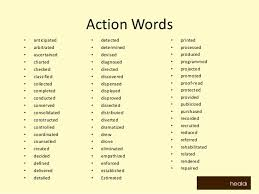 Resume Action Verbs Word List Resume Action Words Likewise