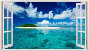 Kunststoff 3d Panorama Meer Und Insel In Der Karibik Webwandtattoocom