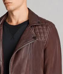 mens conroy leather biker jacket oxblood red image 2