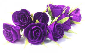 10 purple crepe paper roses with a toothpick cake topper deep purple baby shower idea wedding centerpiece diy wedding boutonniere corsage