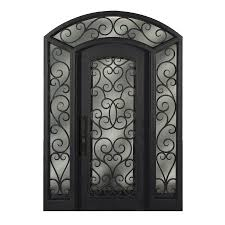 escon full lite privacy glass right hand inswing bronze painted iron prehung entry door with sidelights and insulating core common 72 in x 96 in