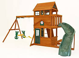 Backyard Discovery Somerset Playset From WalMart Installed In Big Backyard Ashberry Wood Swing Set