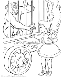 zoo cage coloring page. Contemporary Coloring Zoo Monkey Coloring Page Circus In A Cage Throughout M