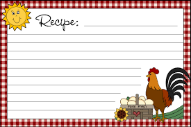Free Printable Recipe Cards Country Clipart By Lisa