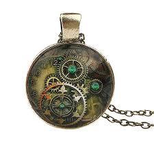 women s vintage compass watch cabochon bronze glass chain pendant necklace