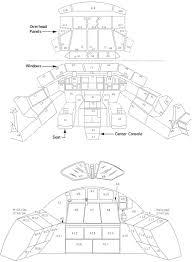 Layout of flight deck forward station cockpit top and aft station bottom