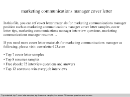 Communication Cover Letter Marketing Communications Manager Cover Letter