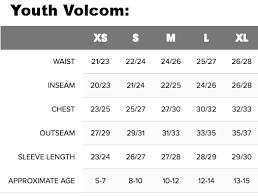 Volcom Big Boy Size Chart 21 Conclusive Volcom Size Chart Youth