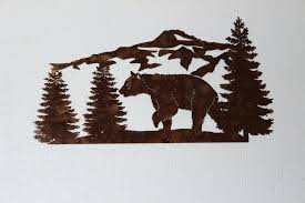 bear wall decor bear and mountain pine tree scene sign large metal wall art country home on metal bear head wall art with bear wall decor bear and mountain pine tree scene sign large metal